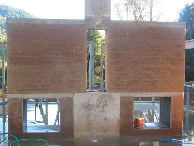 rammed earth fire place