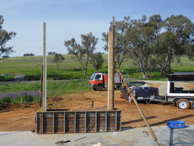 Set up first lift of rammed earth formwork