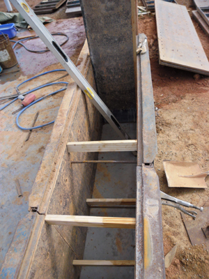Inside of empty lift of rammed earth formwork